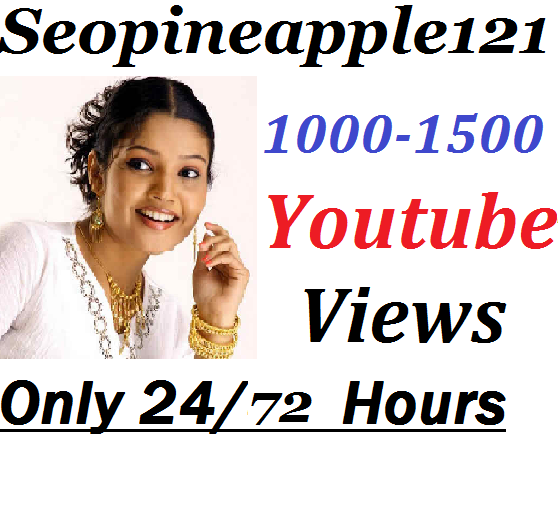 1000-1500 YouTube Vi e w s + 01 Extra Bonus YouTube Li ek s 2472 Hours Delivery Time