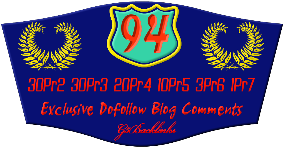 submit 94 exclusive dofollow blog comments from 30pr2 30pr3 20pr4 10pr5 3pr6 1pr7