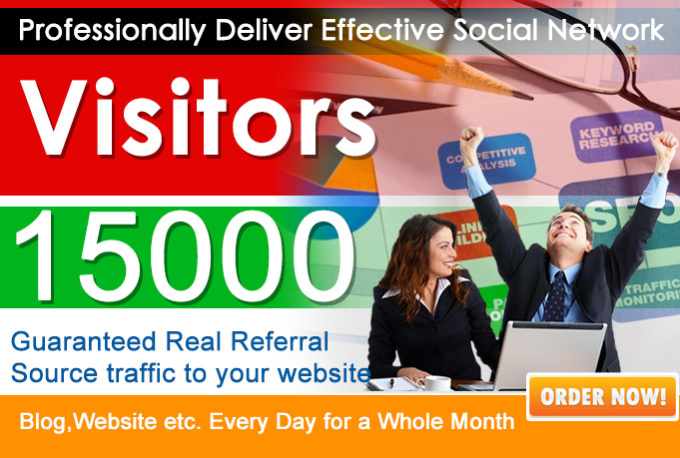 send 15000 Real Human Unique website traffic From Google, yahoo and all social media