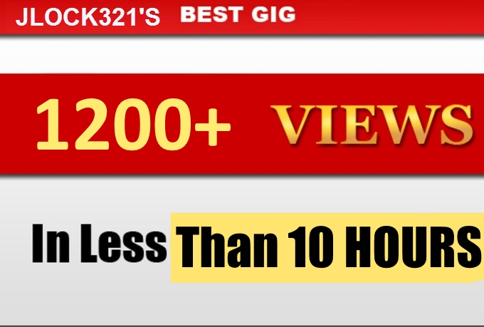 1200+ youtube views HR UP TO 1hour10mins HIGH RENTENTION FAST 3-9 hours DELIVERY!