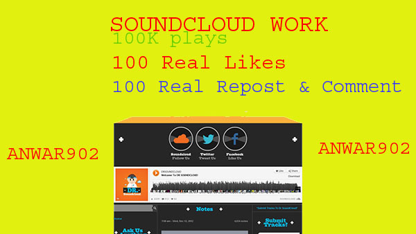 900,000 soundcloud play and 100 likes 100 repost and 100 custom comment