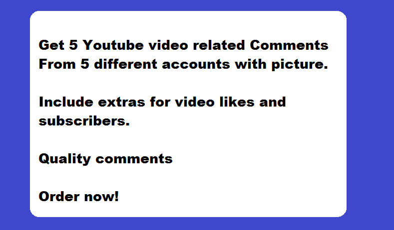 GET Video or blog post related comments in Youtube, quality comments from accounts with pictures