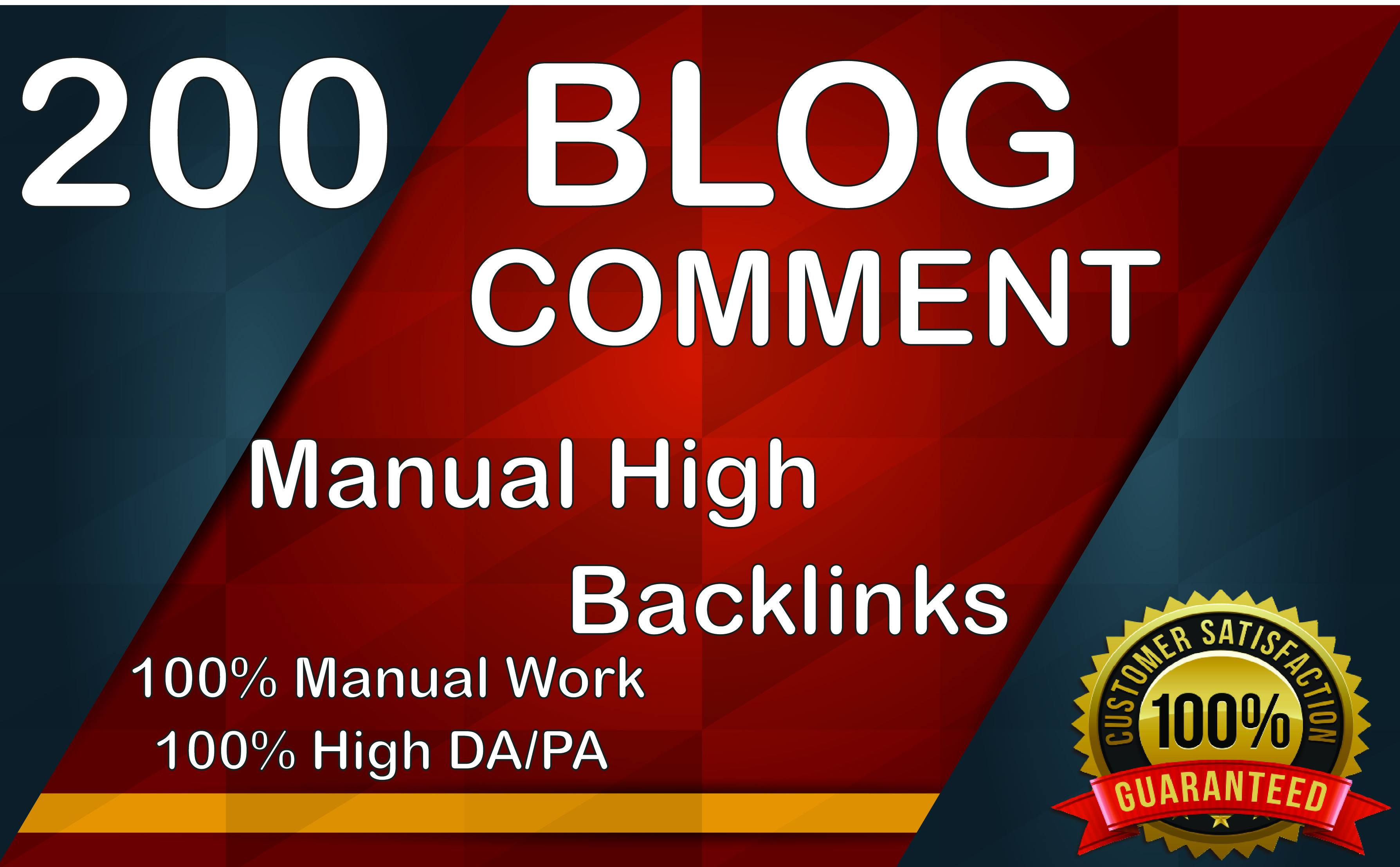 Get 200 High DA PA Dofollow Blog comment Backlinks