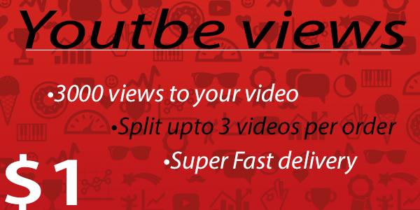 Provide 3000 Youtube Views
