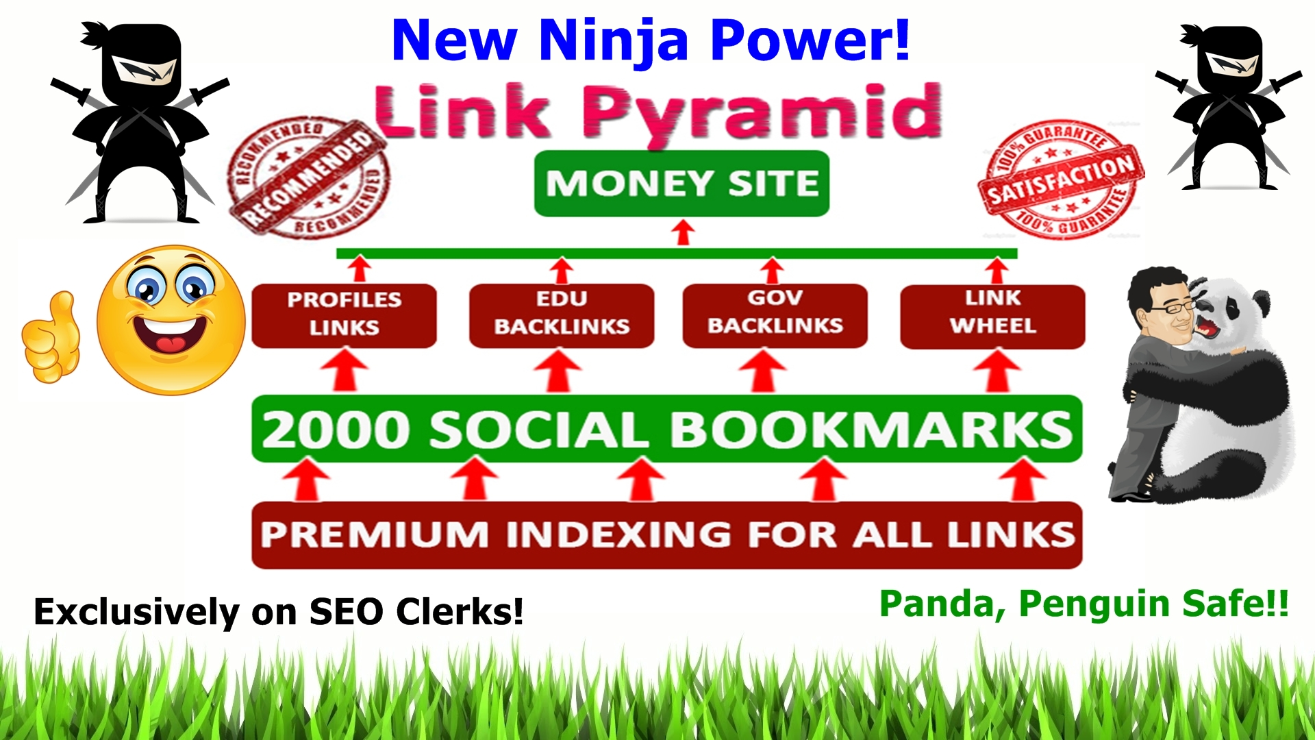 Rank top on Gooogle by High Quality NINJA Pyramid HV. 1 SEO Backlinks for your website, blog.