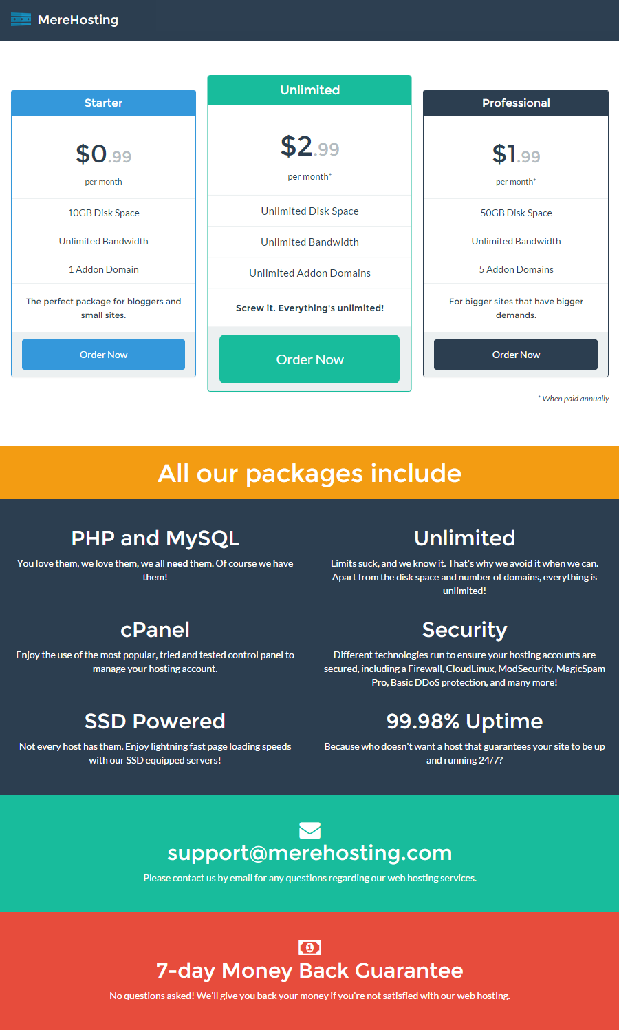 1 Year 5GB Unmetered Web Hosting with Unlimited Features