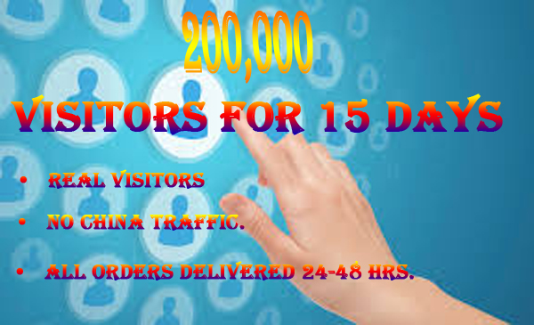Will send 200,000 visitors for 15 days Website Traffic only