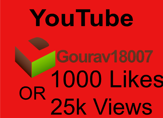 Non drop instant start 1000 plus youtube video likes OR 25000 HR youtube views