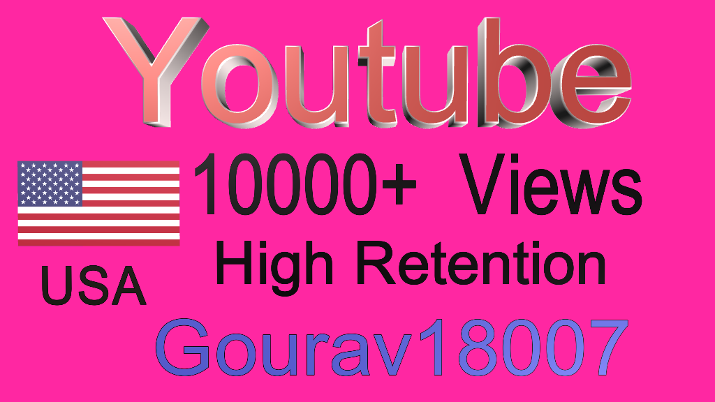 Youtube 10000+ USA 70% Plus Retention Views