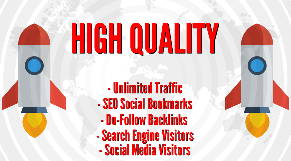 PREMIUM SEO TRAFFIC with 10K Do-Follow Backlinks, Social Bookmarks, Search Engine Visitors and Social Media Visitors