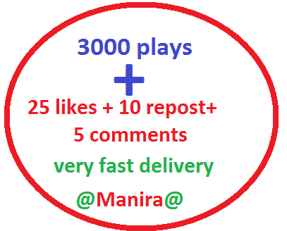 3k soundcloud plays with 25 likes-favorits, 10 repost, 5 comments within 24 hours