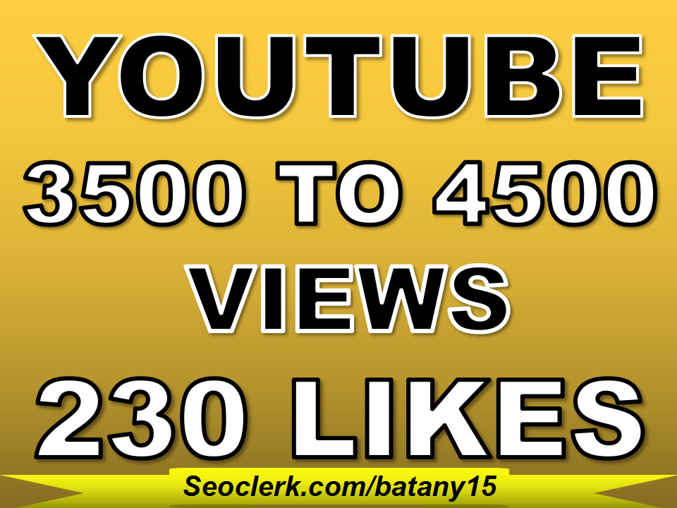 230+ Fast Youtube Likes OR 3500 to 4500 Youtube Views OR 15 Custom Youtube Comments in Just 1 Day
