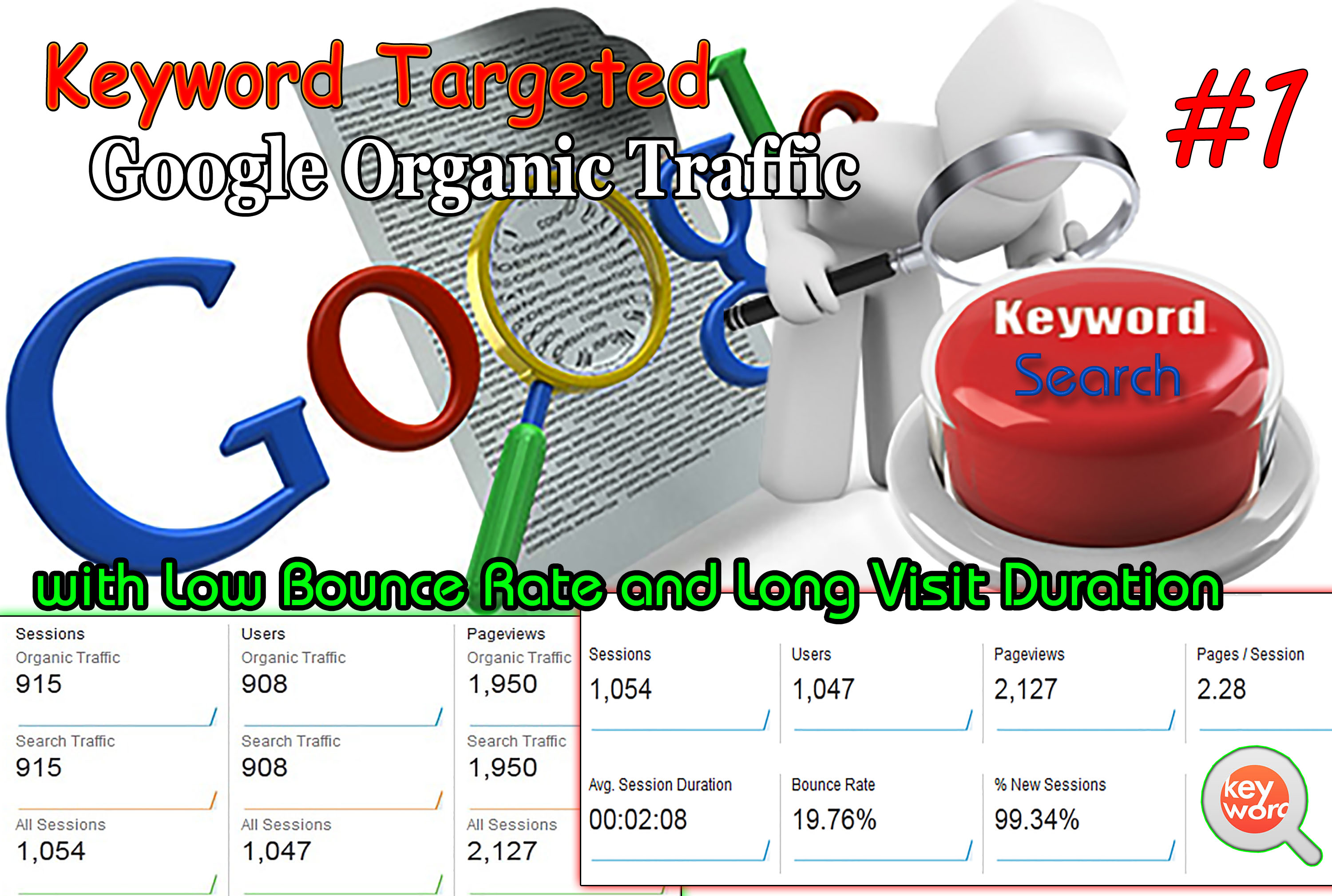 Unlimited Keyword Targeted Google Organic Traffic with Low Bounce Rate for 30 Days