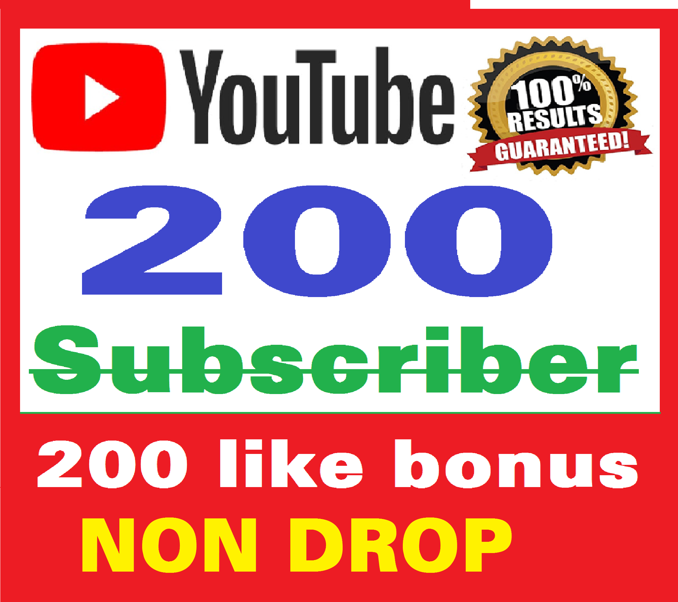 Add 200+ Real Youtube Subscribers & bonus 200+ Likes YT Safe and Non Drop, Instant Start , top Youtube Views