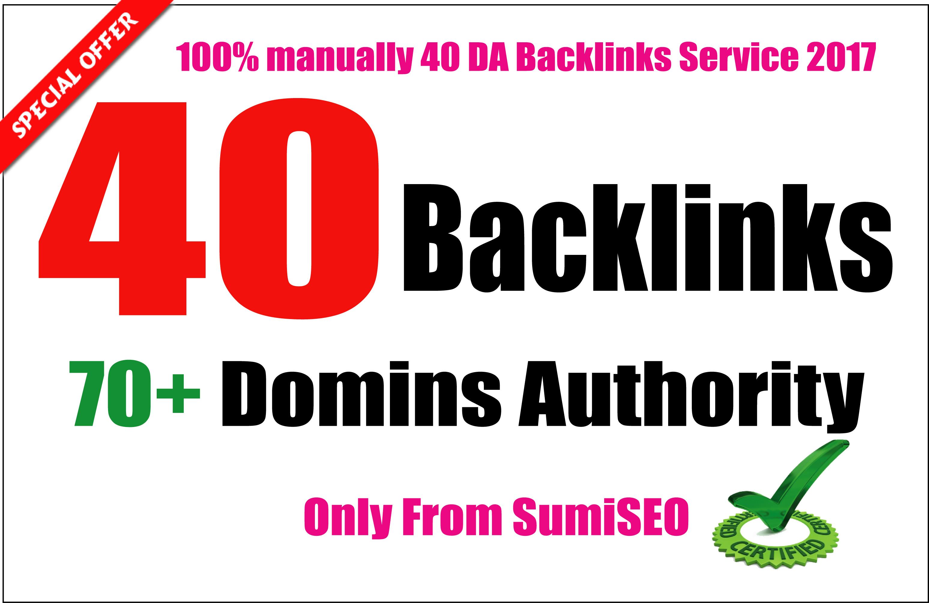 I will manually create 40 Backlinks From Da 70 High, Skyrocket Your Ranking