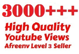 High Quality 3000+ YOU TUBE VIEWS