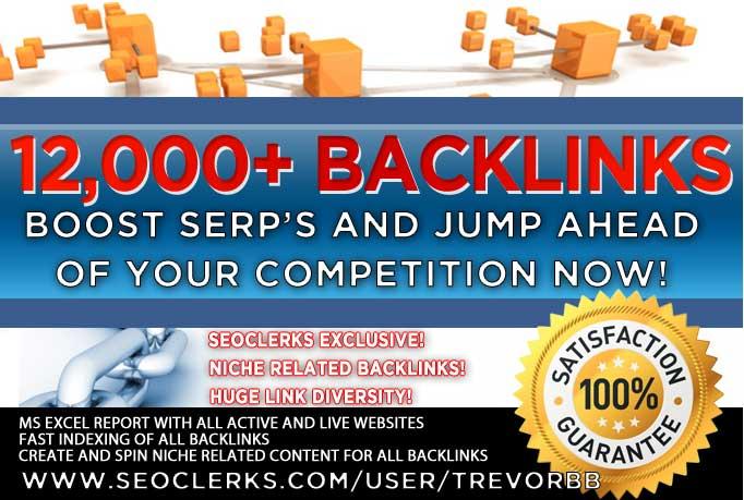 build over 12000 backlinks for higher SEO rankings