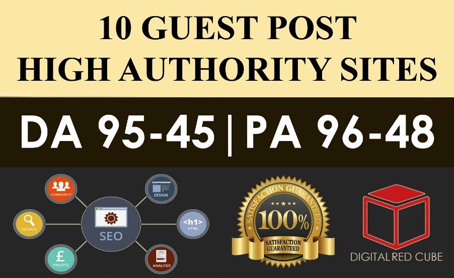 Publish 10 X High Authority Guest Post DA 50-93 Sites...