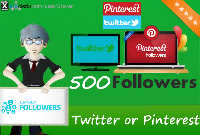 Add 500 Twitter or Pinterest Followers to your profile
