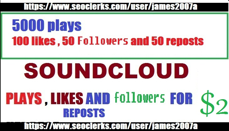 5,000  SOUNDCLOUD PLAYS with 100 likes , 50 Followers ,  50 reposts