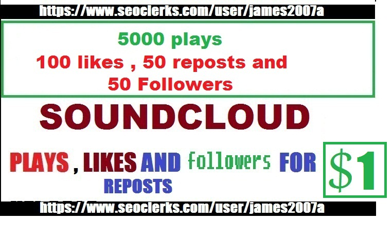 5,000  SOUNDCLOUD PLAYS with 100 likes , 50 reposts and 50 followers