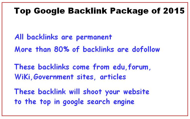 Permanent Google Raking Package : Higher PR Backlinks Pakage