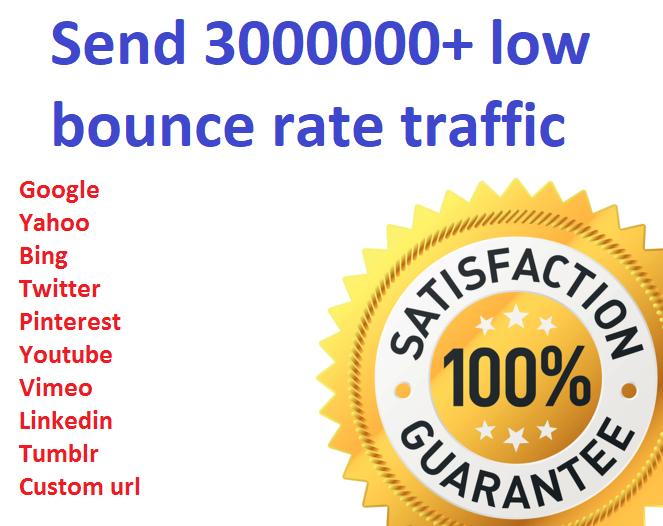 Send 3000000+ low bounce rate worldwide traffic