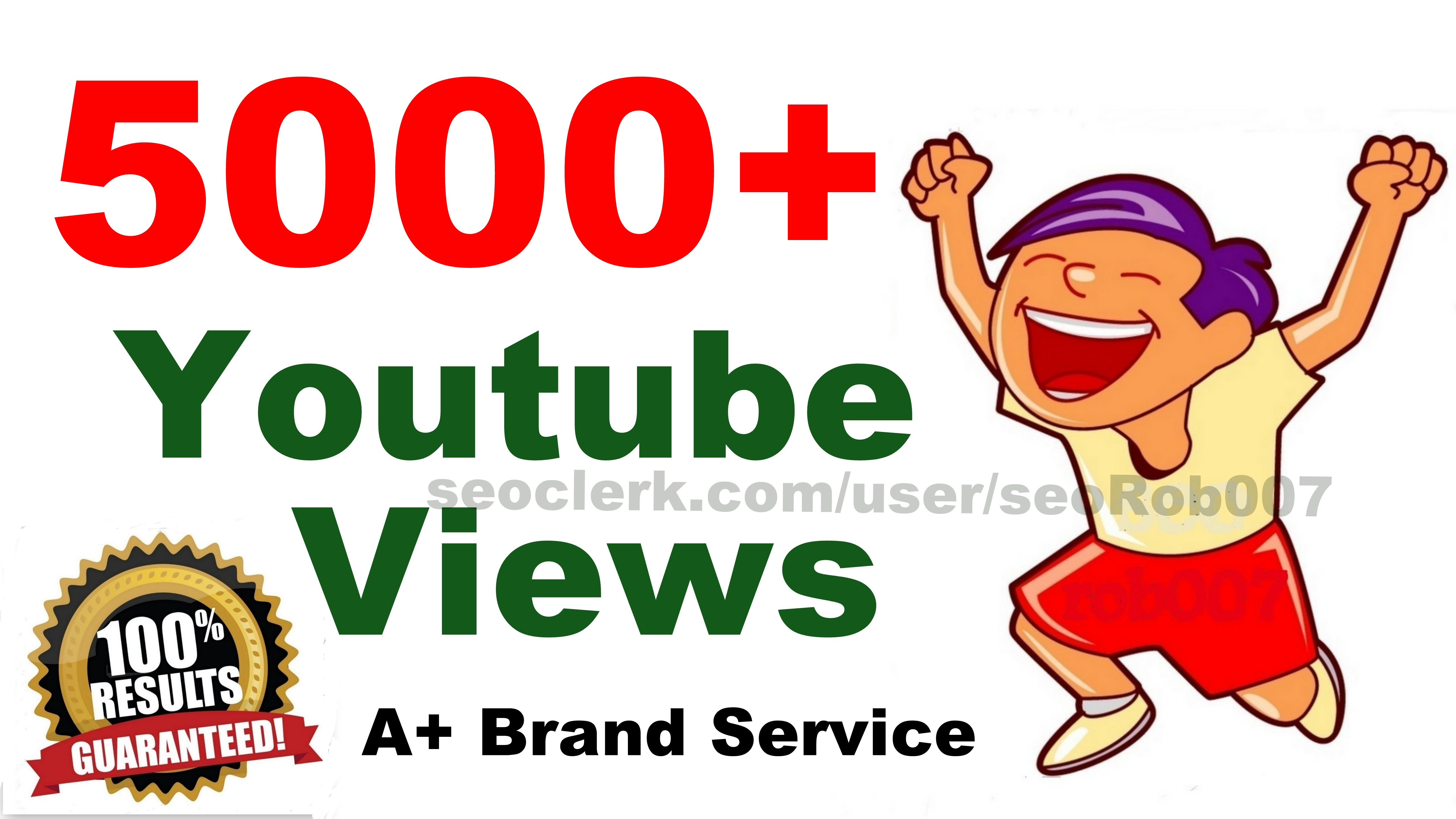 5000+ You'Tube Views in 24-48 Hours Good Retention A+ BrandService