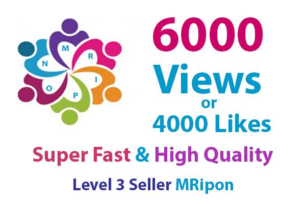 4000 HQ Photo Likes or 6000 Video Views