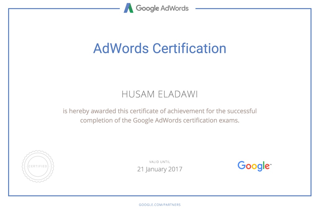 Search Advertising Exam - Be Google Adwords Certified