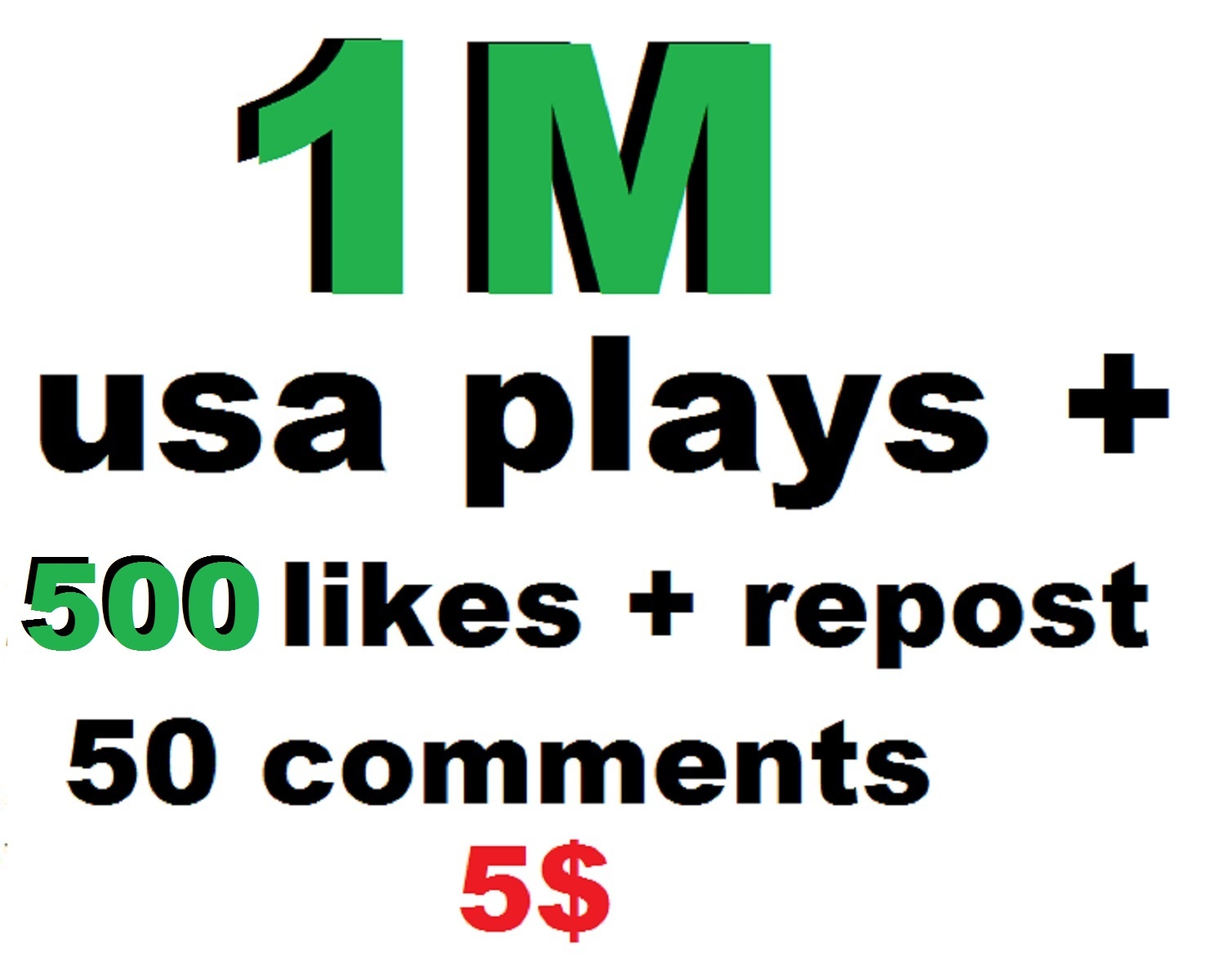 1m usa plays promotion with 500 likes and 500 repost and 250 followers