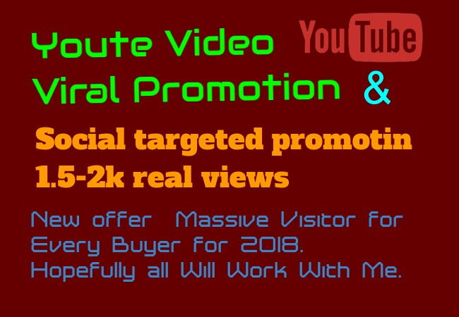 I will do real youtube massive video promotion 3k