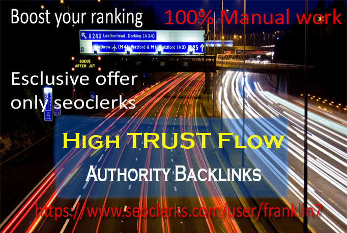 i will do google rank with my 10 high trust flow social profile backlinks