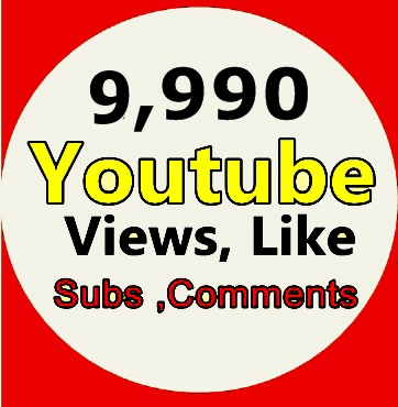 9,990 Youtube Views +20 Likes +5 Subscriber +3 Comment