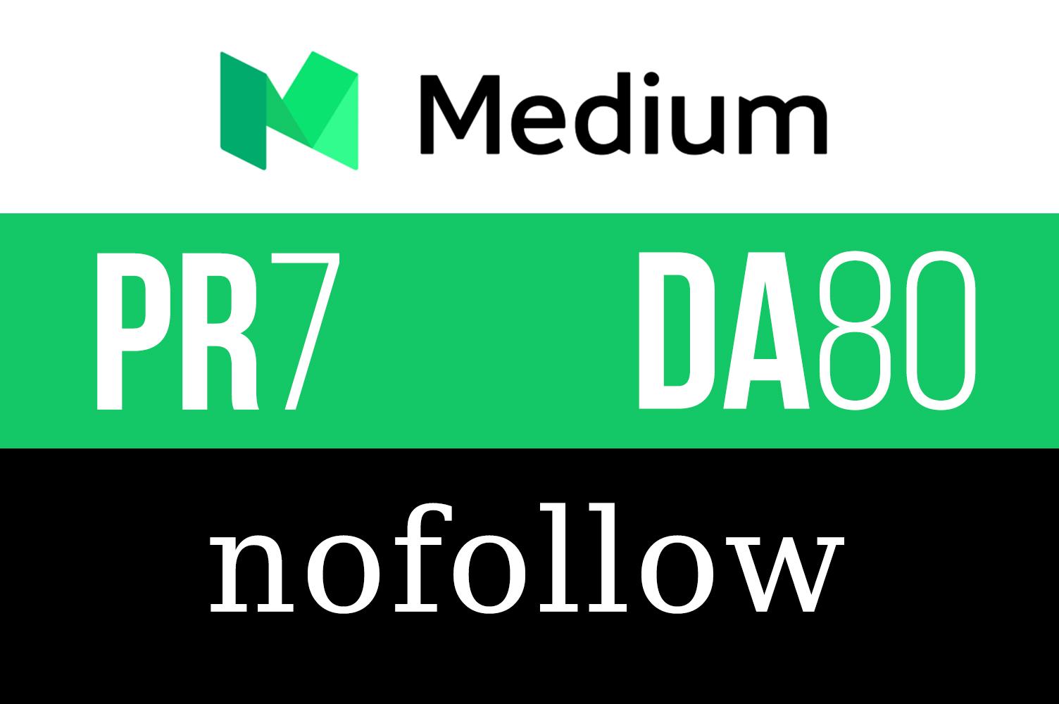 Publish a Guest Post on Medium. com PR-7,  DA-80