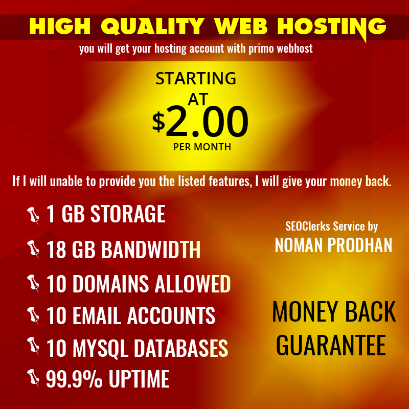 High Quality Webhosting for monthly