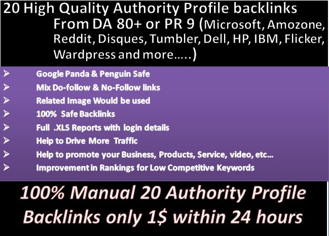 Google ingluencing DA85+ PR9  20 HQ Authority Profile Backlink get better ALEXA Rank