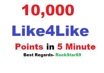 Very Fast Delivery 10k like4like points in 1 account