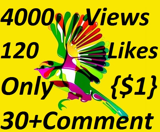 HQ Quality 4,000  Views OR 120 YouTube Video Likes OR 30+Custom Comments Completed
