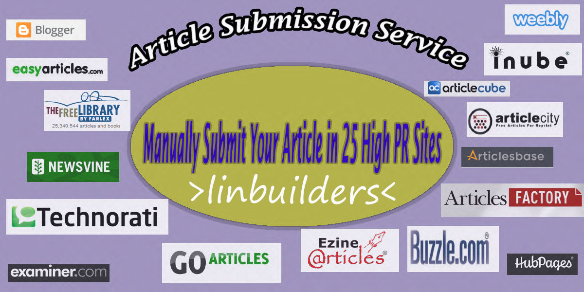 manually Submit Your Article in 25 High PR Sites