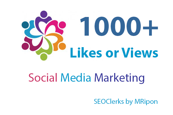 1000+ High Quality Post Likes or Video Views