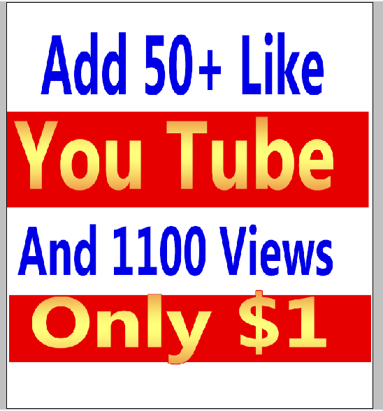 I will give you real 1100-1500 youtube views and 50+ youtube video likes in your video