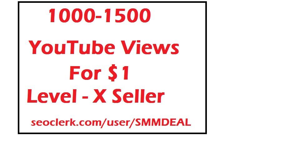 1000 - 1500 youtube views