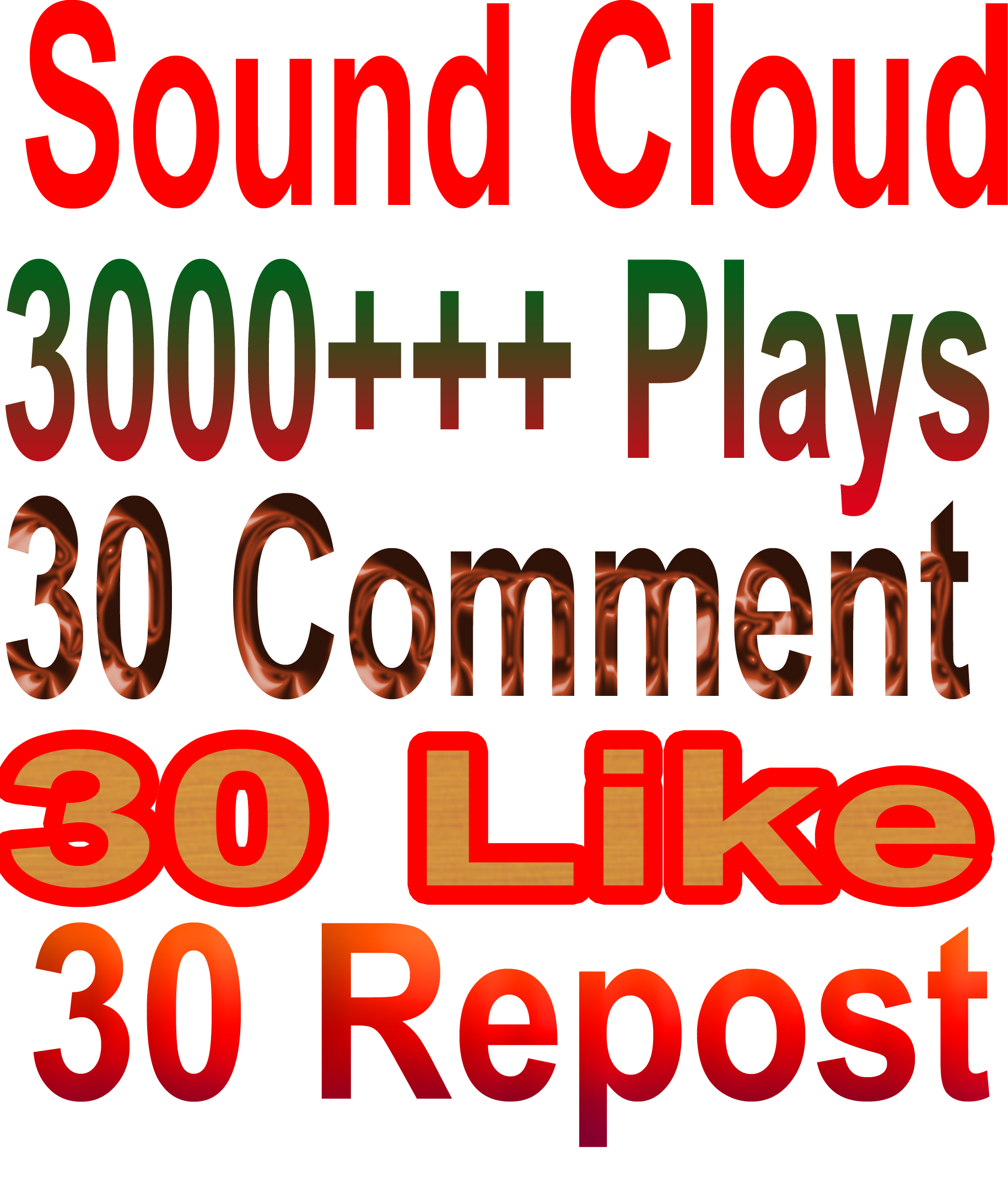 I will give you real 3000 SoundCloud Plays,30 Comment + 30 Like + 30 Repost
