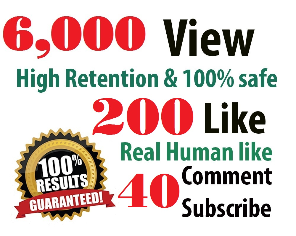 6,000 HR youtube Views + 200 youtube Likes + 40 subscribers + 5 Comments