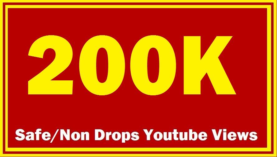200000+ 200K+ Safe/Non Drops YouTube Views