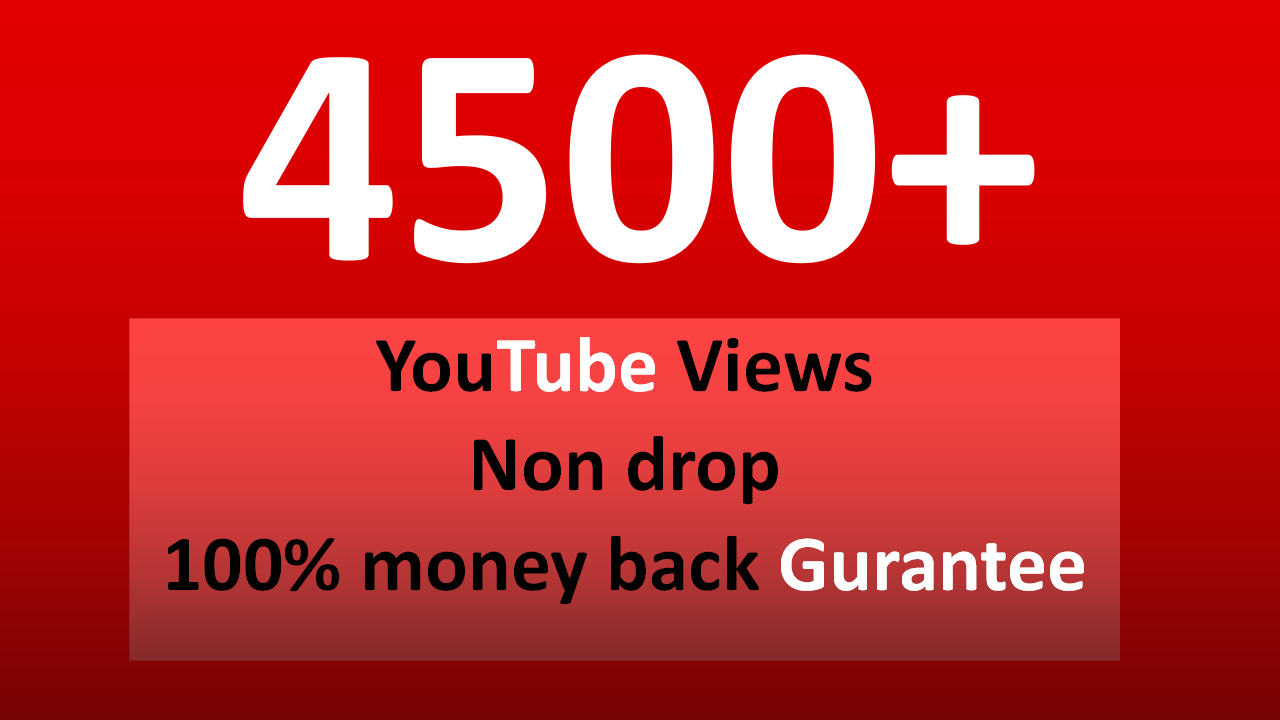 Fast 3,000 to  4,000+ YouTube views OR  300 likes