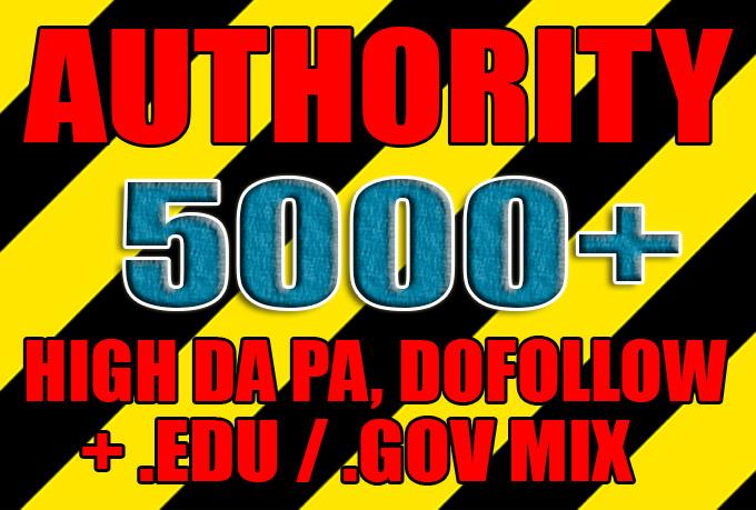 Get over 5000 high da pa,  dofollow,  edu and gov backlinks
