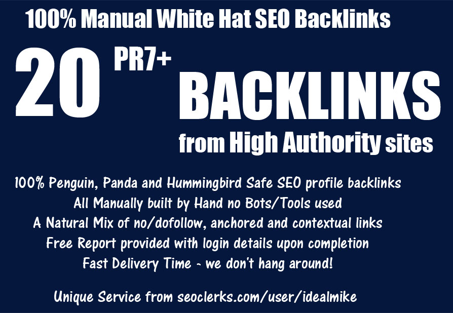 20+ PR7+ White Hat SEO Backlinks High Authority Link Building Service