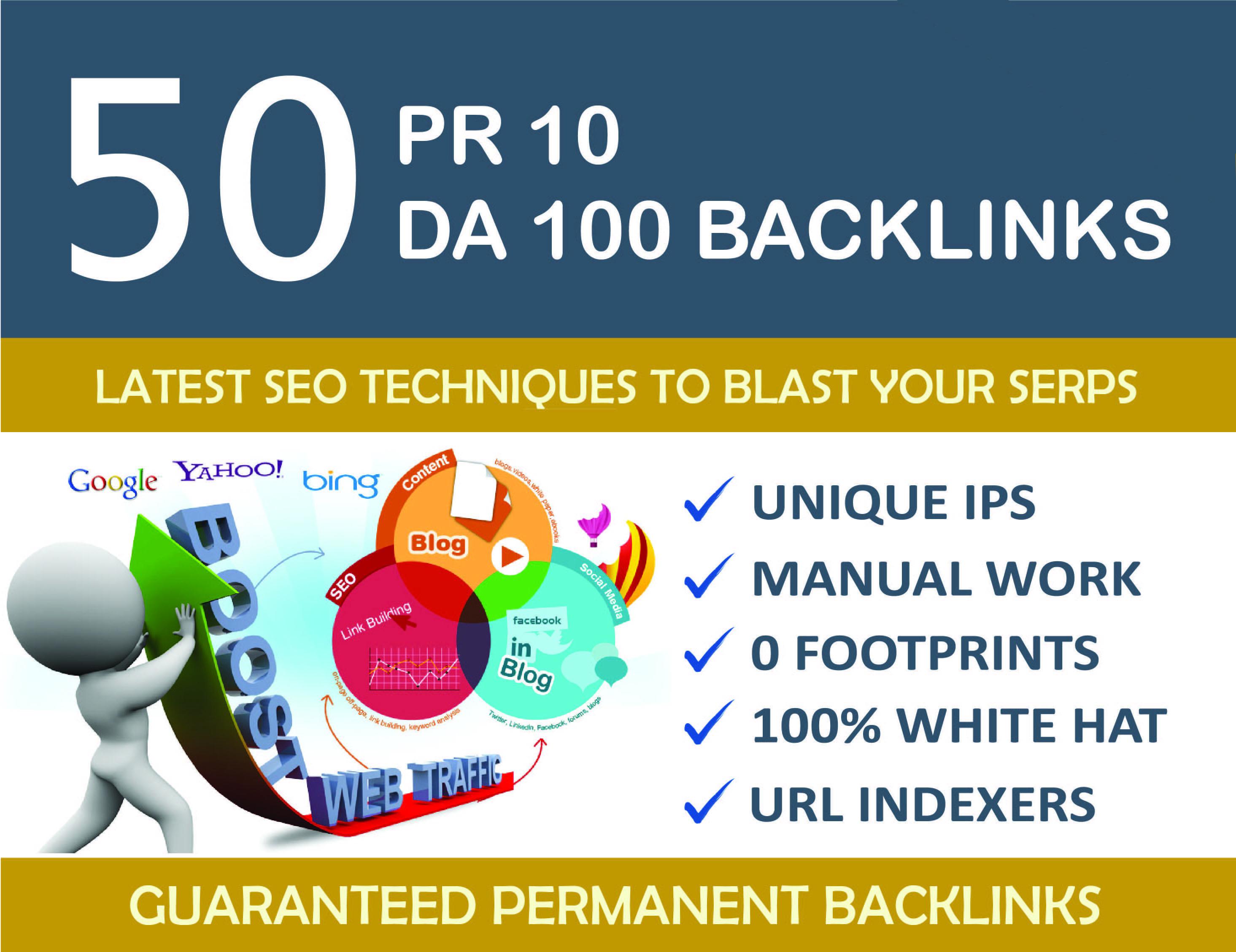 Create 50 Unique Pr10 SEO Backlinks On Da100 Sites
